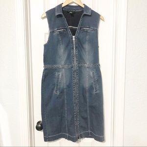 INC Zip Up Denim Jean Sleeveless Midi Dress